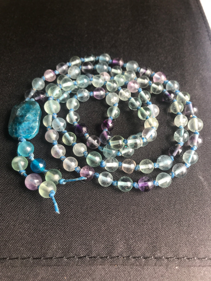 rainbow fluorite handknoted necklace with blue apatite guru bead