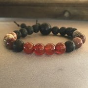 8mm Orange carnelian, ocean jasper and essential oil diffusing lava beads gemstone bracelet