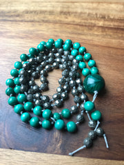 Dainty traditional malachite and pyrite japa mala