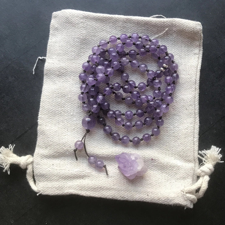 purple amethyst sterling silver beaded healing necklace