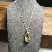 Sterling silver wire wire wrapped gold hair rutile pendant necklace
