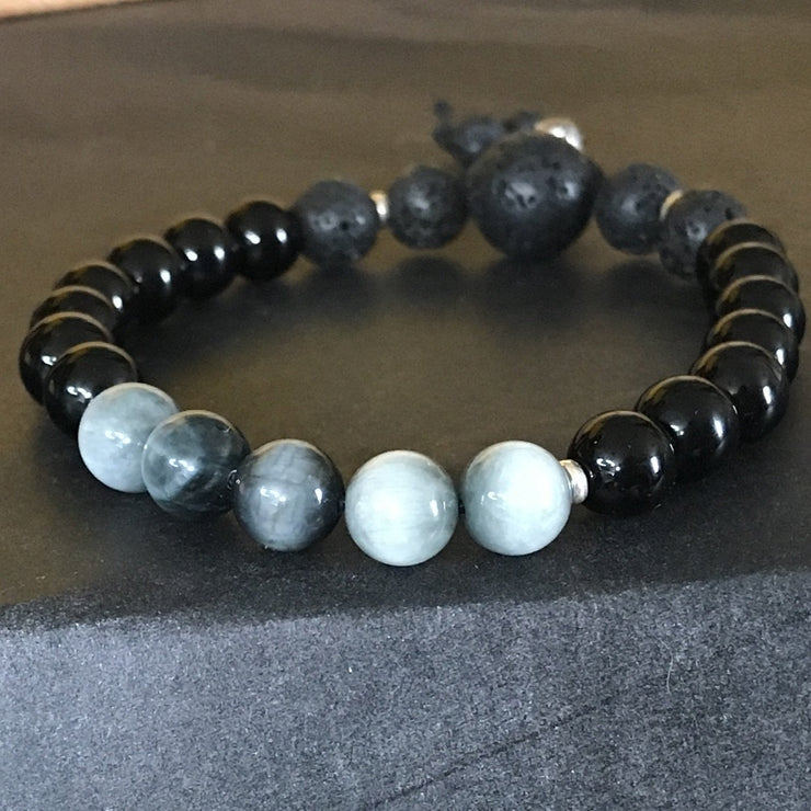 Grey cat eye with black tourmaline bracelet