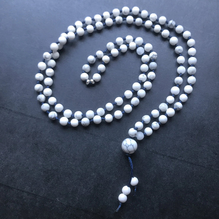 White howlite calming mala necklace