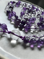 purple amethyst beads hand knotted 108 mala with clear crystal quartz