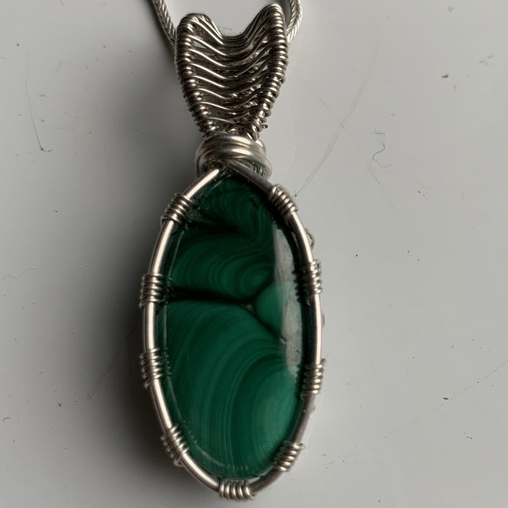 Malachite sterling silver pendant necklace
