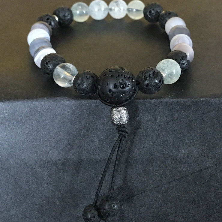 aquamarine sterling silver banded agate essential oil diffusing lava rock stretch bracelet for anxiety