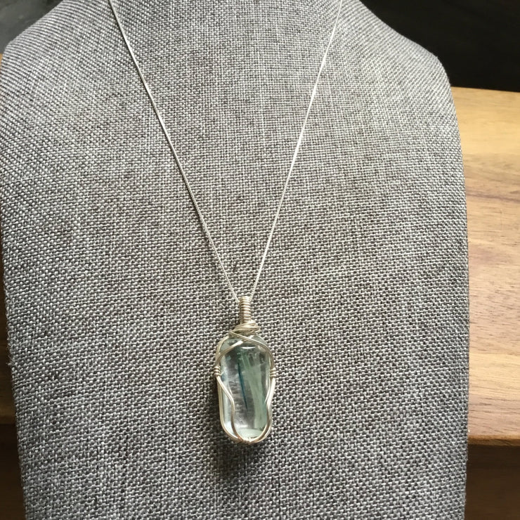 Sterling silver wire wrapped rare crystal pendant necklace