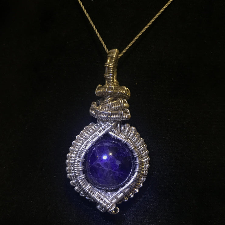 Purple white AA Amerhyst hand wrapped in 925sterling silver wire natural gemstone crystal hand made  pendant