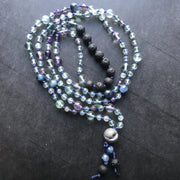 Rainbow fluorite knotted aromatherapy mala necklace