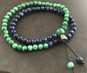 Malachite with kyanite double wrap bracelet
