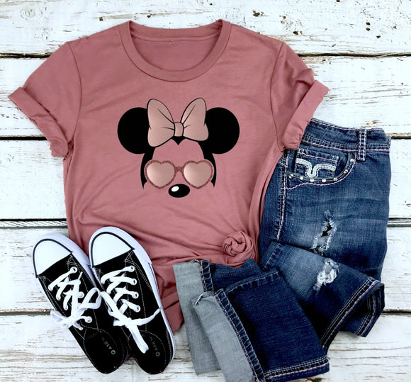 Minnie Sunglasses Inspired Rose Gold ADULT Unisex Shirt