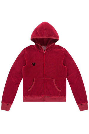 LDC VELOUR EMBROIDERED HOODIE - RUBY