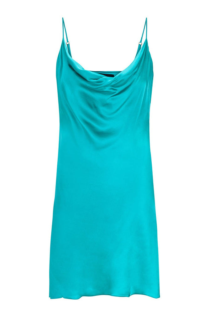 Bombshell Mini Slip Dress - Turquoise Green