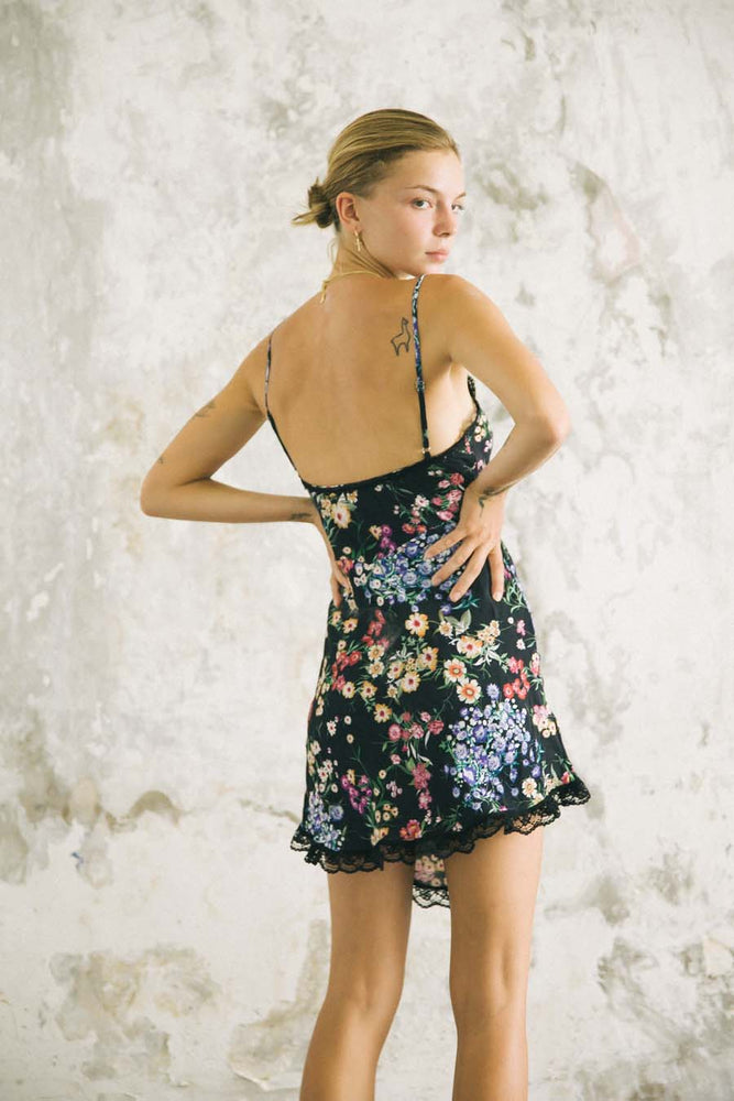 LOVER MINI SLIP BLACK FLORAL