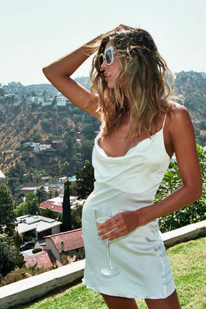 Bombshell Mini Slip Dress - Pearl White