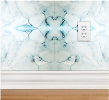 Load image into Gallery viewer, aqua wallpaper, powder room inspiration, beach theme,
