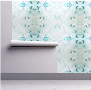 hand painted wallpaper, modern art wallpaper, aqua blue wallpaper