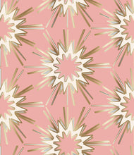 Load image into Gallery viewer, pink wallpaper gold burst starburst art deco rose wallpaper fabric glitter wallpaper interior design trend similar to spark zoffany thistle rug vivienne westwood kelly wearstler style