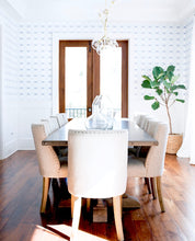 Load image into Gallery viewer, wallpaper installation, light blue and white wallpaper, silver dining room wallpaper, top wallpapers, best wallpaper, blue white wallpaper, dining room wallpaper, dining room chair rail