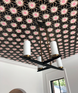 wallpaper on ceiling, ceiling with wallpaper, wallpapered ceiling, ceiling wallpaper photos, wallpaper on ceiling images, black ceiling dining room, dining room ceiling, dining room wallpaper, dallas