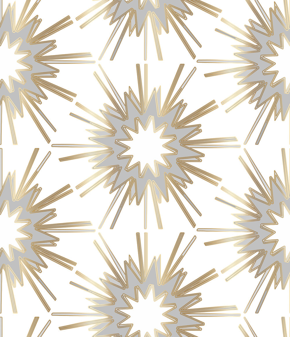 white gray gold wallpaper, gold stars wallpaper, gold and gray wallpaper, gold and grey wallpaper, wallpaper brass hardware, wallpaper brass mirror, wallpaper gold mirror