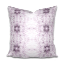 Load image into Gallery viewer, lavender white pillow, violet white pillow, soft purple white pillow, purple bohemian pillow
