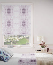 Load image into Gallery viewer,  lavender white roman shade, violet white shibori print, purple shibori pillow, lavender roman shade, lavender white nursery curtains, white linen roman shade