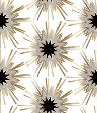 Load image into Gallery viewer, art deco,glamorous wallpaper fabric,black gold grey thistle,hexagon luxurious