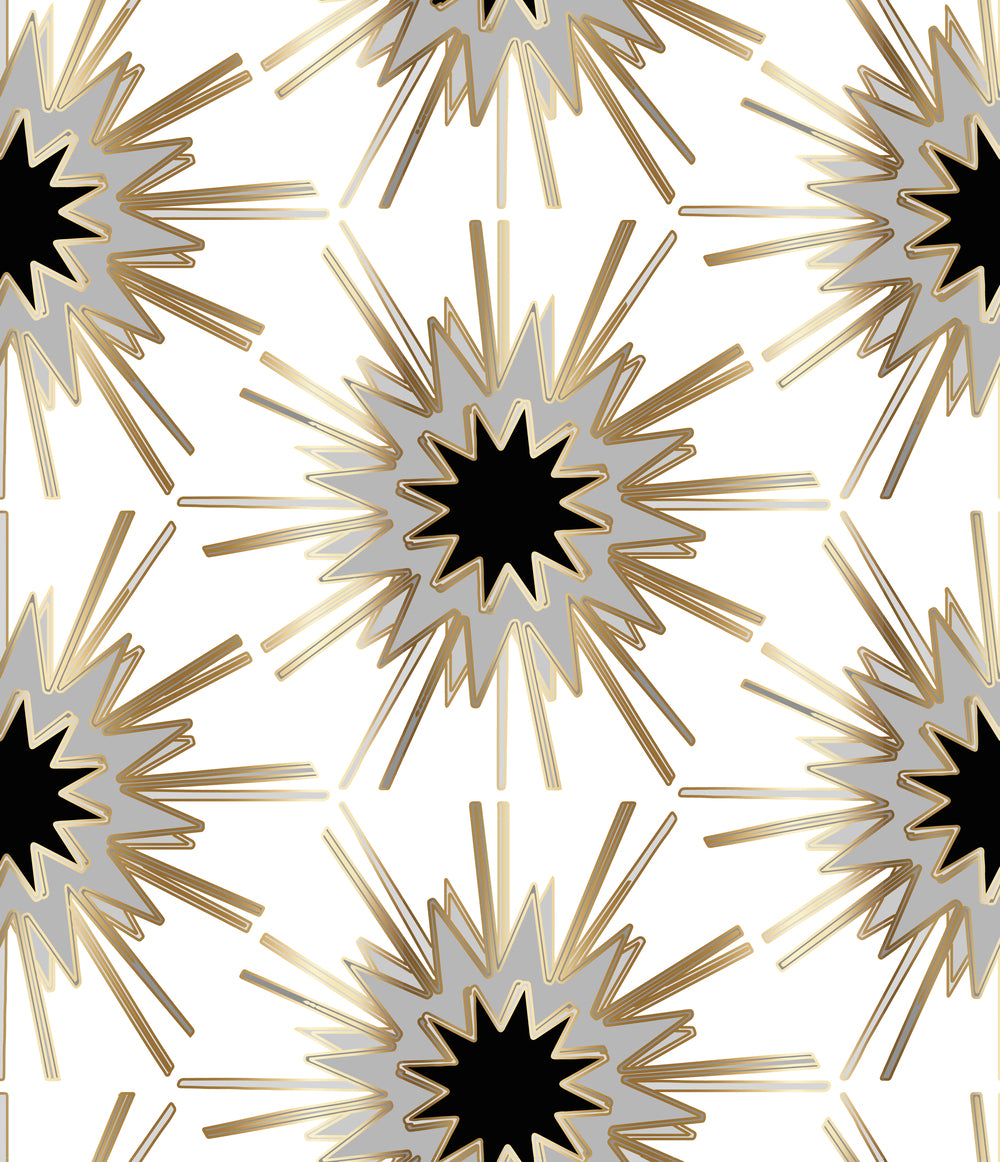 art deco,glamorous wallpaper fabric,black gold grey thistle,hexagon luxurious