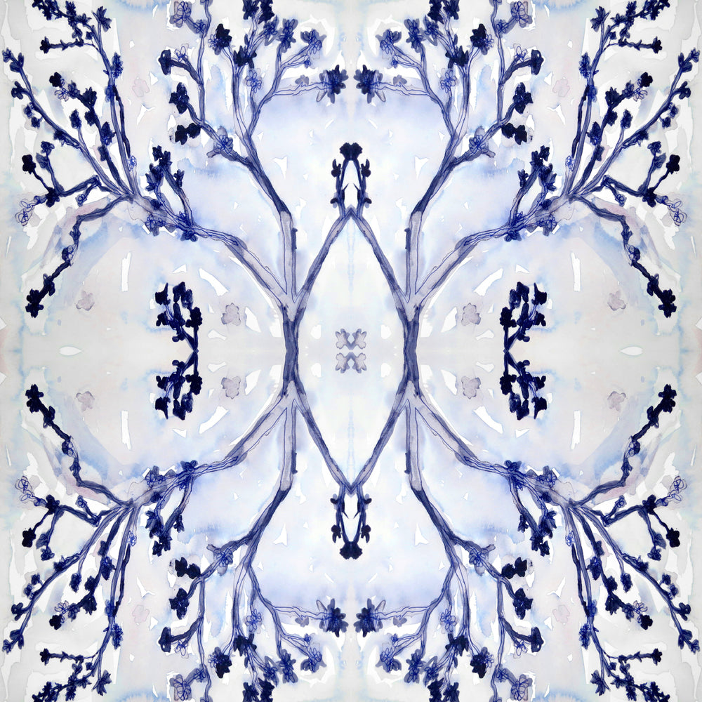 indigo white wallpaper hand sketched painted design direct designer wallpaper border removable peel and stick bathroom powder room photos, wallpaper sites
