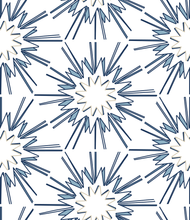 Load image into Gallery viewer, designer wallpaper direct blue and white cream hexagon interior design