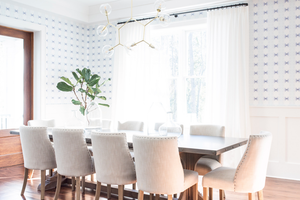dining room wallpaper, fig plant dining room, wainscoting dining room, chair rail dining room, wallpaper dining room