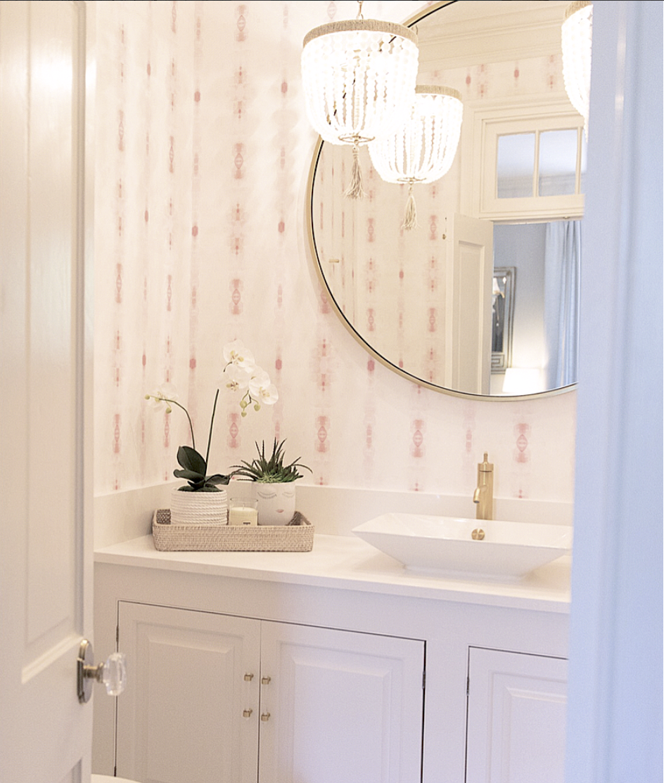 blush powder room, pink powder room, blush wallpaper, half bath wallpaper, blush pink wallpaper, powder room layout