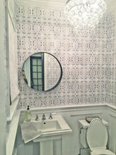 Load image into Gallery viewer, powder room wallpaper, white gray wallpaper, painted wallpaper, half bath wallpaper