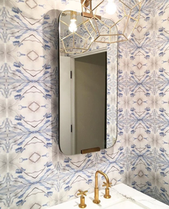 how to wallpaper, gray blue wallpaper, wallpaper brass hardware, powder room remodel, powder room decor, powder room wallpaper