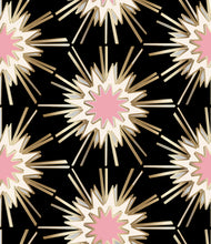 Load image into Gallery viewer, designer wallpaper black gold pink cream wallpaper fabric powder room new trend art nouveau design similar to spark zoffany thistle rug vivienne westwood kelly wearstler style, blackpink wallpaper