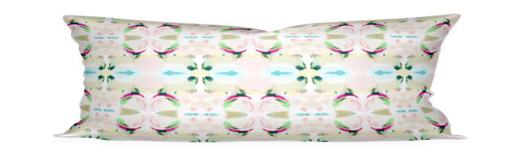 pink green aqua pillow, painterly pillow pink and aqua, aqua pillow with pink and green, twin bed lumbar pillow, teen bed bolster, girls room bolster