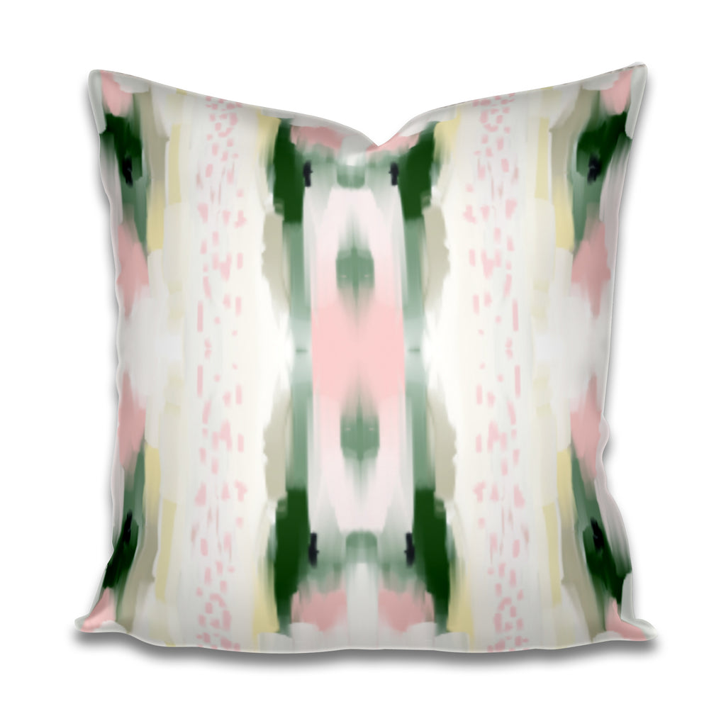 jll design pillows, jlldesignllc pillows, jennifer latimer pillows, green and blush pillow cover, green and pink pillow cover, painted fabric pillow