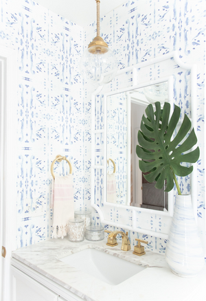 drop pendant bathroom vanity white bamboo mirror white rattan mirror bathroom brass and white bathroom blue dot wallpaper