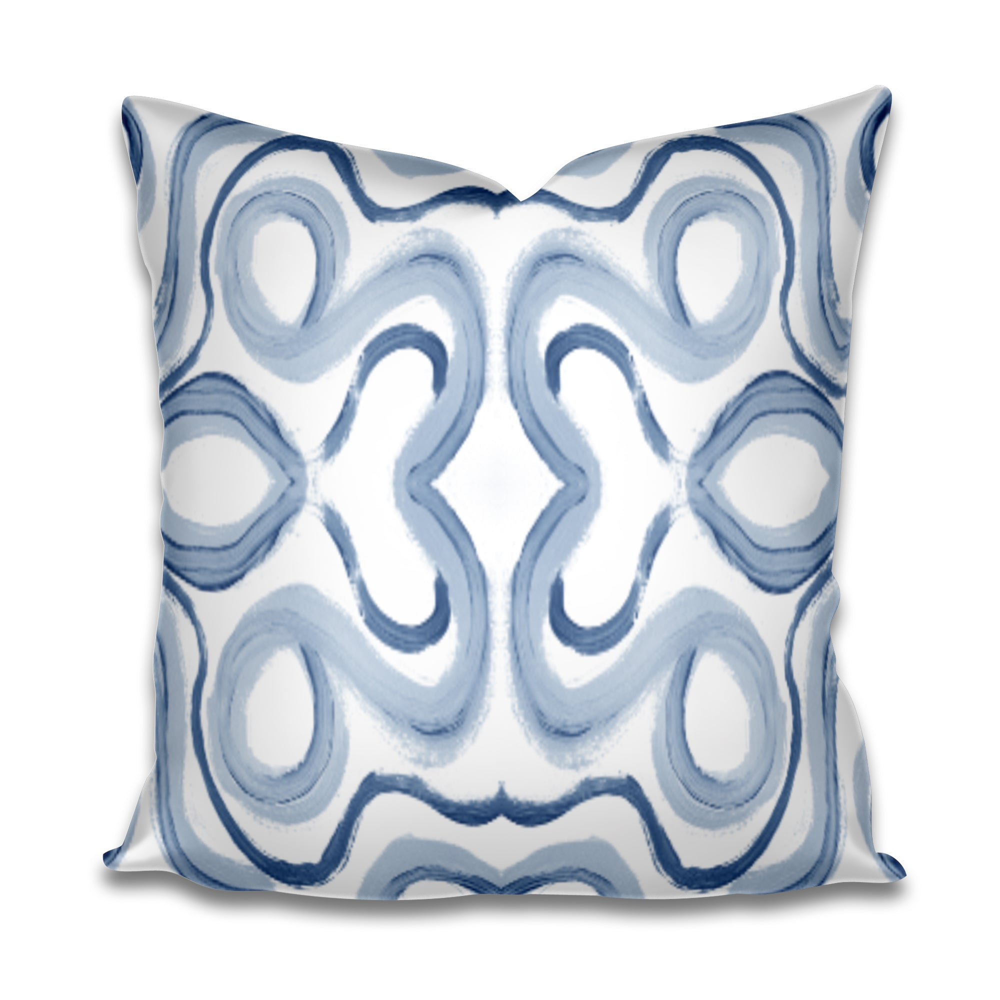 blue paint stroke pillow cover, painterly blue pillow, blue swirl pillow cover, accent pillow beach house blue swirl