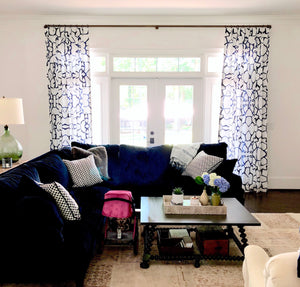 navy painterly fabric curtains, large scale print blue curtains, navy and white curtains living room, blue velvet sofa and curtains, drapery with blue sofa, navy velvet sofa living room