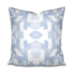 blue brush stroke pillow, blue white geometric pillow, large brush stroke pillow