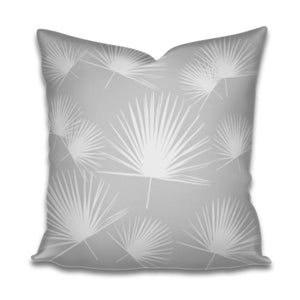 grey palmetto print, grey palm fabric, grey palmetto fabric, grey palmetto pillow