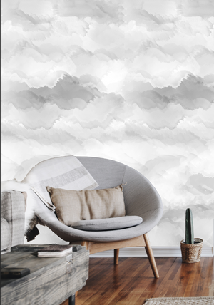 photos of wallpaper accent wall, wallpaper accent wall grey, gray wallpaper accent wall, neutral wallpaper living room, neutral wallpaper office, nuvolette wallpaper, grey clouds wallpaper