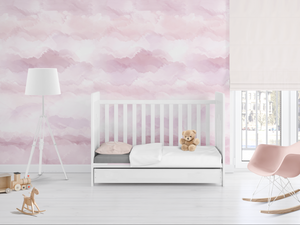 girls nursery wallpaper accent wall, pink watercolor wall mural, nursery white shades, white and pink nursery photos