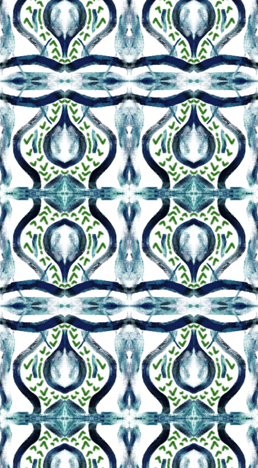 painted ikat wallpaper, blue green painted wallpaper, navy and green paint stroke wallpaper, painterly wallpaper blue green