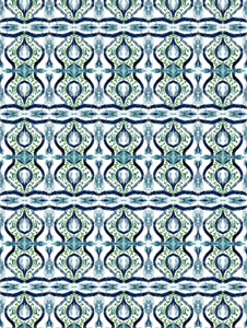 blue green ikat, navy ikat with green, navy ikat curtain fabric, navy ikat fabric, painterly fabric navy and green, navy blue and green ikat