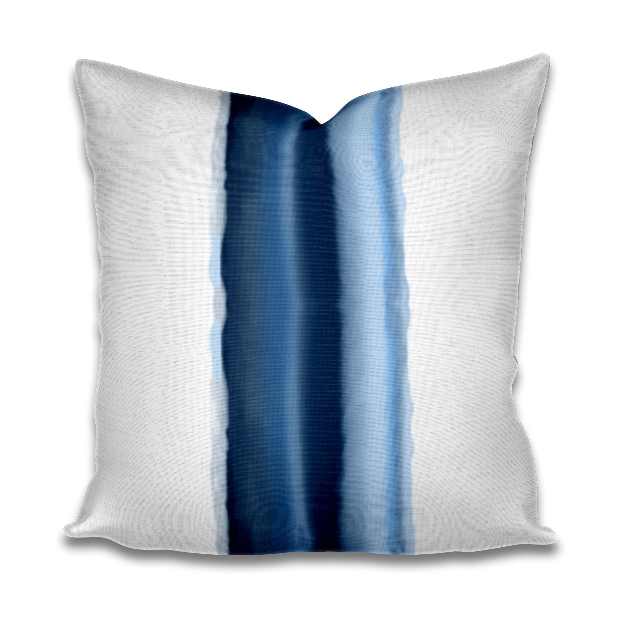 blue middle stripe pillow, middle stripe lumbar pillow, colorblock pillow, color block pillow, blue shibori pillow, shibori stripe pillow, navy beach house pillow