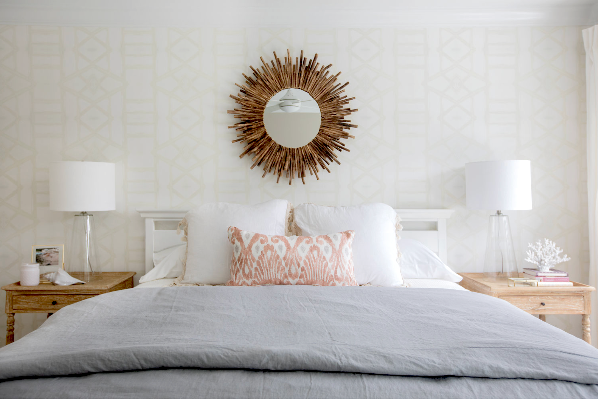 ivory and white bedroom, wallpaper accent wall behind bed, cream and white bedroom with grey, grey orange white bedroom decor, ivory and white wallpaper bedroom