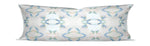 painterly pillow pale blue and blush, pale blue lumbar pillow, long lumbar pillow soft colors